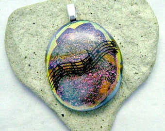 Black Music Notes Dichroic Fused Glass Pendant