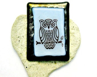 Fused Glass Brooch - Mr Owl Pin