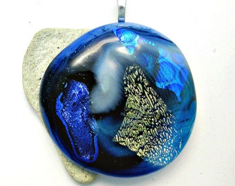 Blue Dichroic Pendant - Fused Glass Dichroic Large Pendant