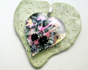 Black Flowers with Pink Dichroic Bamboo Fused Glass Pendant