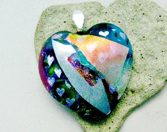 Fused Dichroic Glass Pendant - Red Dichroic Heart Pendant