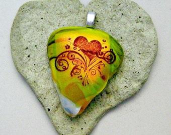 Dichroic Heart Fused Glass Pendant