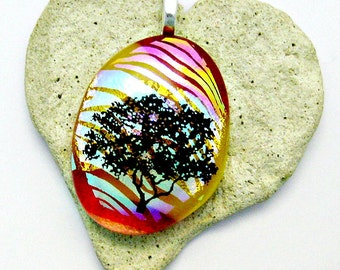 Art Glass A New Beginning Tree of Life Dichroic Fused Glass Pendant