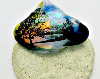 Sunrise or Sunset Dichroic Fused Glass Pendant