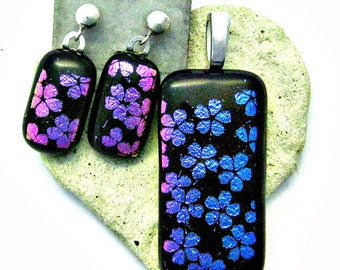Dichroic Cherry Blossoms Fused Glass Pendant and Earrings