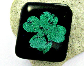 Shamrock Magnet -  Fused Dichroic Glass Magnet