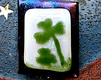 Lucky Shamrocks Magnet - Fused Glass Magnet