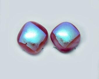 Pink Aqua Dichroic Fused Glass Clip On Earrings Earrings