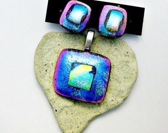 Magenta  Blue and Aqua Dichroic Fused Glass Pendant and Clip On Earrings Jewelry Set
