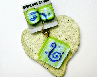 Dichroic Fused Glass Jewelry - Spring Green Pendant and Earring Set
