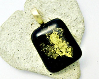 Gorgeous Abstract Gold Heart on Black Fused Glass Pendant