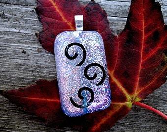 Dichroic Glass Black Swirls - Fused Glass Swirls Pendant