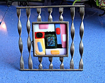 Dichroic Fused Glass Squares and Rectangles