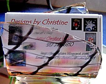 Fused Glass Business Card Holder - Pink Black and Clear Napkin Holder - Sponge Holder