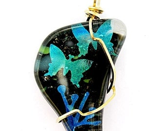 Fused Glass  Pendant - Dichroic Butterflies