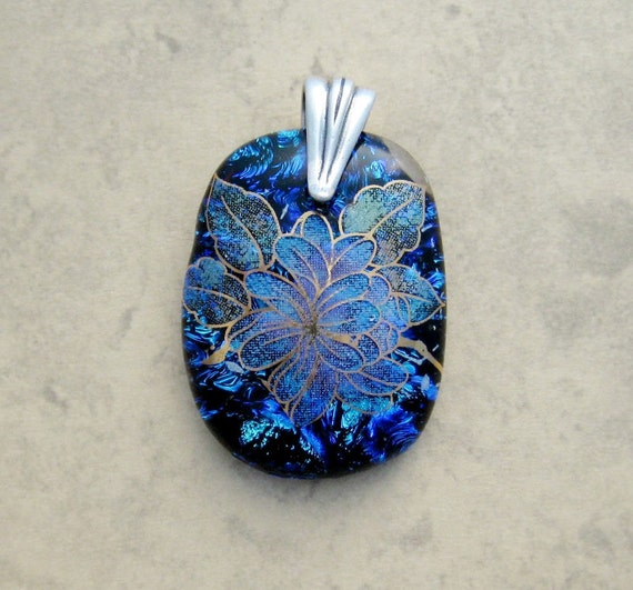 Blue Dichroic Flower Fused Glass Pendant