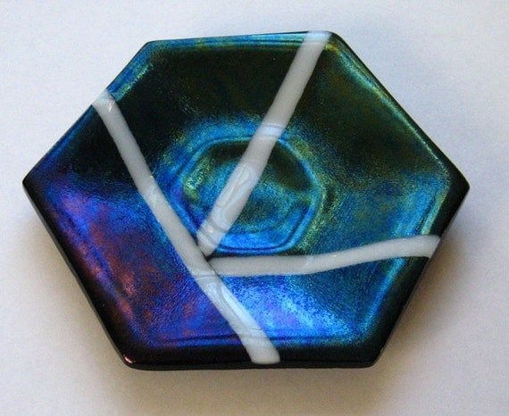 Blue Iridized Fused Glass Dish