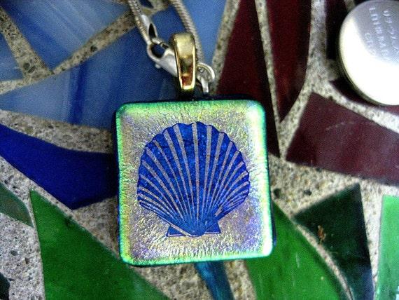 Dichroic Sea Shell Fused Glass Pendant