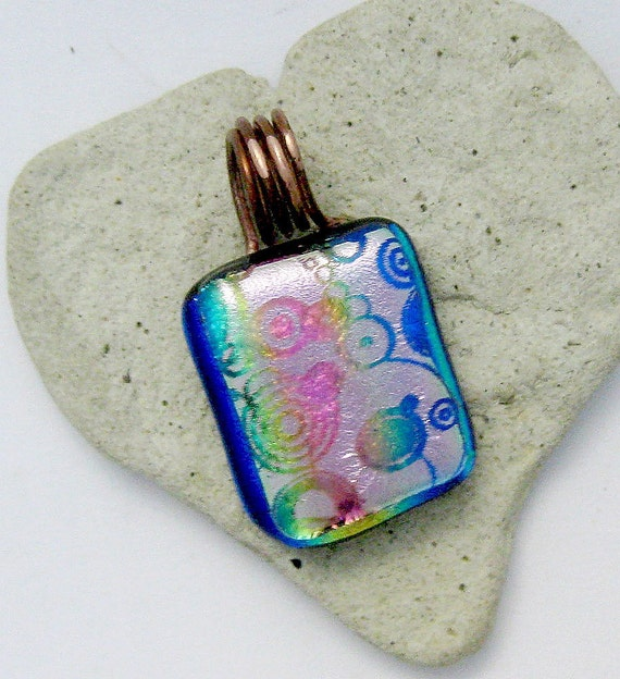 Dichroic Circles and More Fused Glass Pendant
