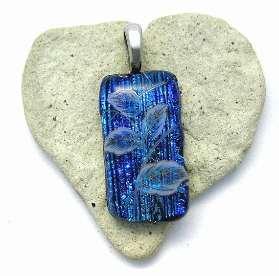 Lovely White with Gold Leaves Dichroic Blue Fused Glass Pendant