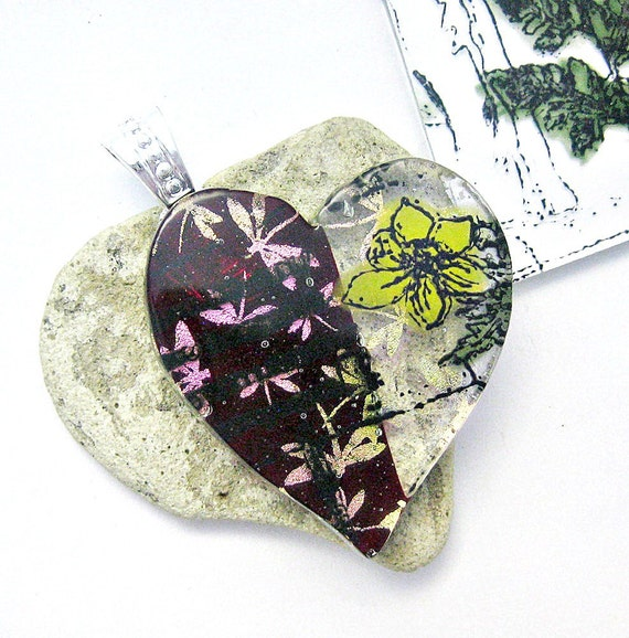 Dichroic Dragonflies and Daffodils Fused Glass Pendant