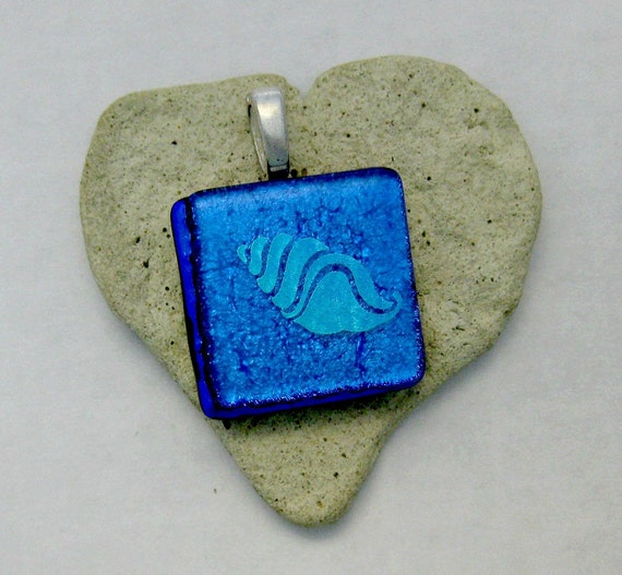 Beachy Dichroic Sea Shell Fused Glass Pendant - Price drop from 27.00 to 24.00