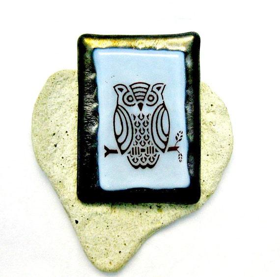 Fused Glass Brooch - Mr Owl Pin