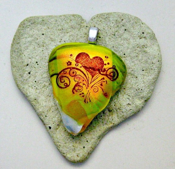 Dichroic Heart Fused Glass Pendant