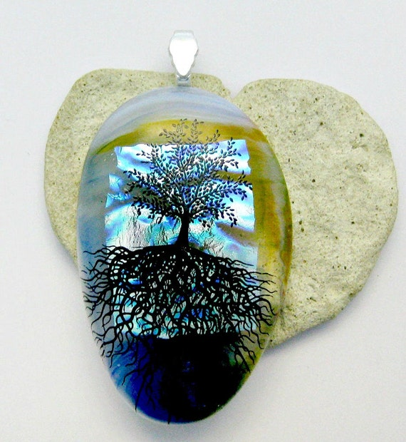 Dichroic Fused Glass  Large Tree Of Life Pendant