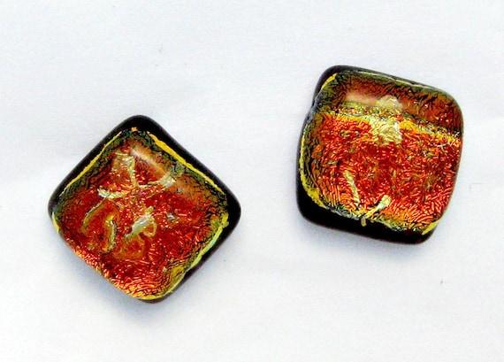 Red Dichroic Post Earrings
