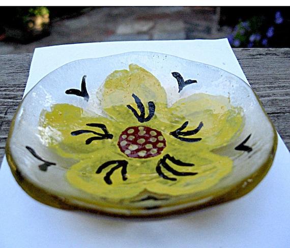 Fused Glass Flower Trinket Bowl