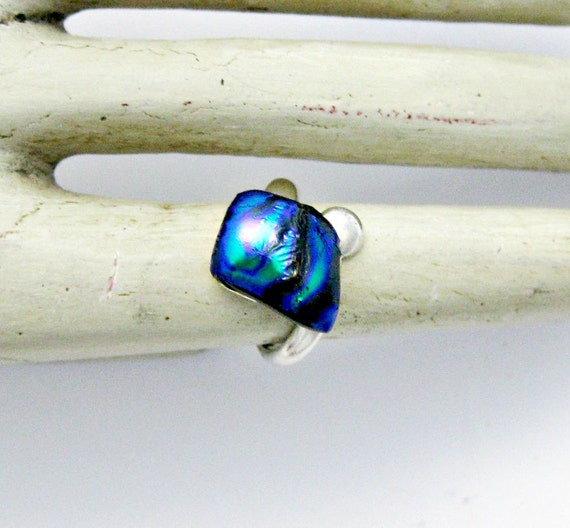 Fused Dichroic Glass Ring - Aqua Blue and Purple Sterling Silver Ring