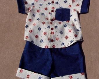 Ship Ahoy 2 piece infant boys short set, size 6 months