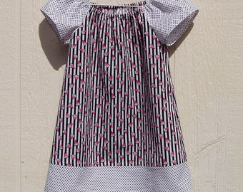 Stripes,Dots and Watermelon Peasant Dress, size 4T