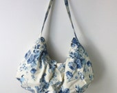 Pleated Hobo with Zipper in Blue and White Flowers