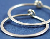 Little Silver Hammered Hoops