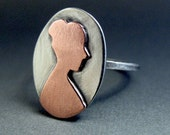 Silver and Copper Cameo Ring