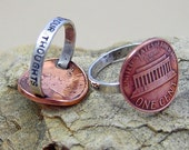 Penny For Your Thoughts Ring - One Cent - US Coin - Lincoln - Penny Ring