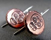 Dia De Los Muertos - Sugar Skull - Copper and Sterling Silver Stamped Earrings