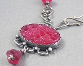 Rose Garden Necklace - Sterling Silver and Vintage Glass - Pink