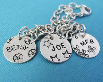 Personalized Mother's Charm Bracelet I - Custom Sterling Silver Hand Stamped Charms