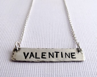 Valentine Necklace - Customizable Sterling Silver Message