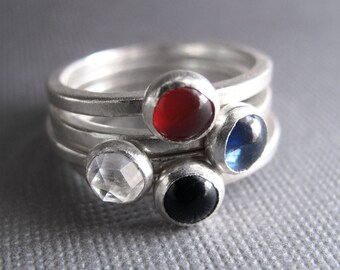 Birthstone Stacking Rings - Sterling Silver & 5mm stones - Four Rings
