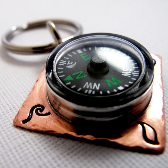 Compass Rose Keychain - Copper and Silver with Four Elements