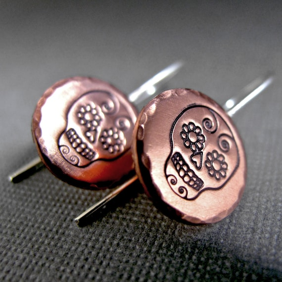 Dia De Los Muertos - Sugar Skull - Copper and Sterling Silver Stamped Earrings
