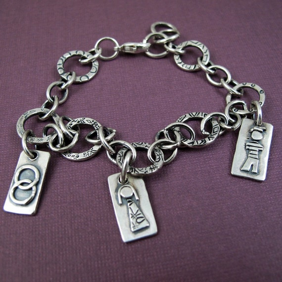 Personalized Mother's Charm Bracelet II - Custom Sterling Silver with figure charms representing kids wedding pets