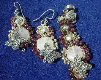 Rose Quartz, Garnet and Sterling Silver Ladybug and Butterfly Pendant and Earring Set