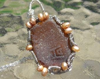 Genuine Vintage Beach Glass Pendant with Hazel-Atlas Markings