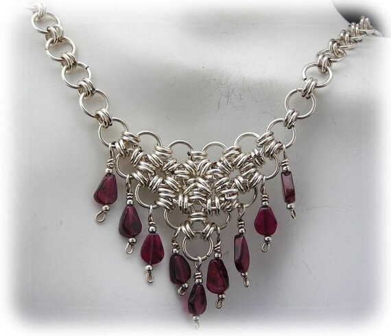 Sterling Silver Chain Maille Bib Style Necklace - Perfect For Ren Faires
