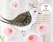 Little wise bird - Art Print